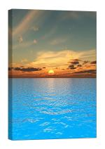 LightFairy Glow in The Dark Canvas Painting - Stretched and Framed Giclee Wall Art Print - Beach Ocean Sunset and Blue Sea - Master Bedroom Living Room Decor - 6 Hours Glow - 24 x 36 inch