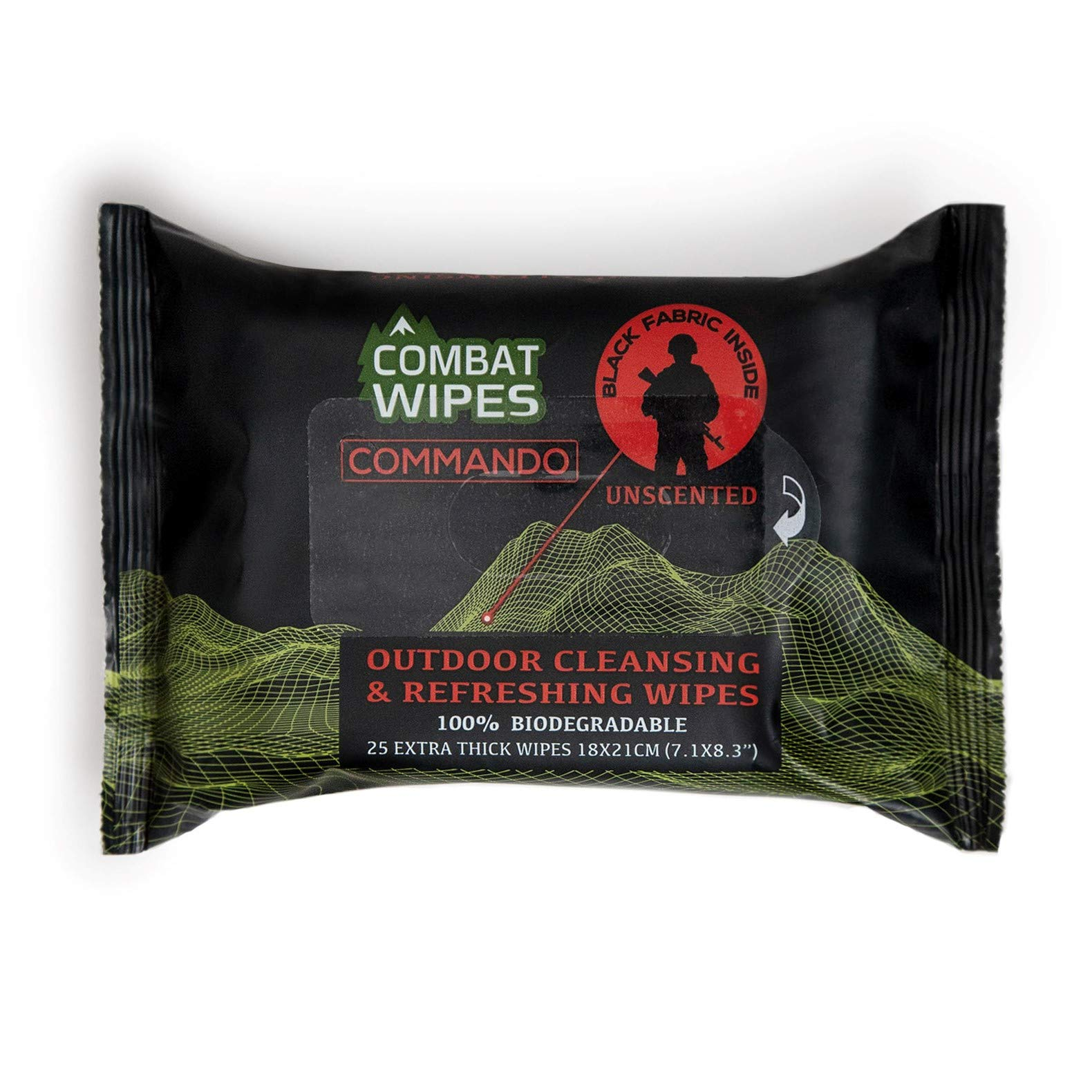 Combat Wipes Commando Black, Unscented Camouflage Wet Wipes   Thick, Ultralight, Biodegradable, Heavy Duty Cleansing Cloths for Camping, Military, Hunting & Backpacking w/Aloe & Vitamin E (25 Pack)