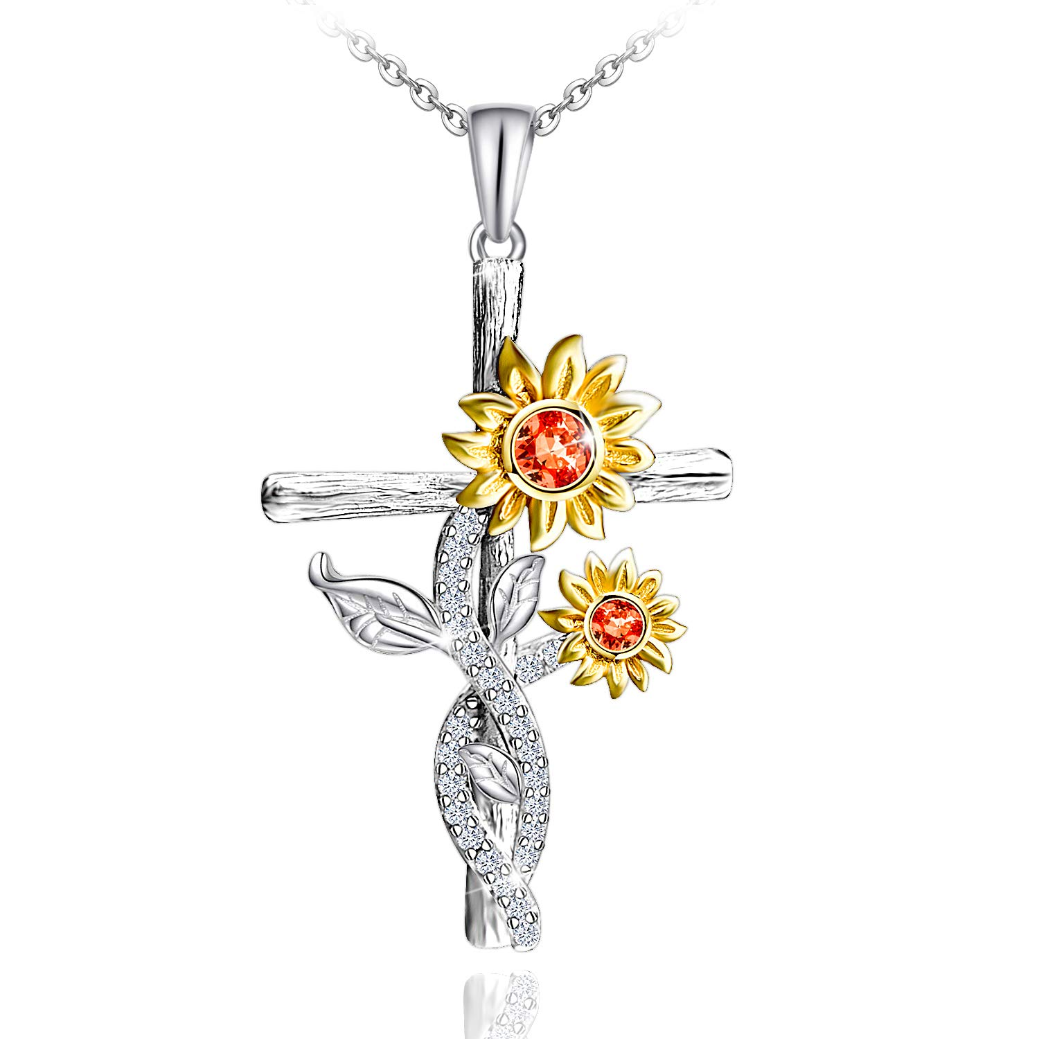 Distance Sunflower Necklace for Women S925 Sterling Silver Necklace Jewelry,You are My Sunshine Pendant Necklaces Jewelry Gifts for Women Girls Mom Wife