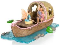 Joykick Fairy Garden Boat Kit - Miniature Hand Painted Figurine Statues with Accessories - Set of 6pcs for Your House or Lawn Decor