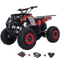 "X-PRO Hawk 125 ATV Quad Youth 125cc ATV 4 Wheelers Youth 4 Wheeler ATVs Big Boys ATVs Quads Big 19""/18"" Tires with Gloves, Goggle and Handgrip (Spider Red)"