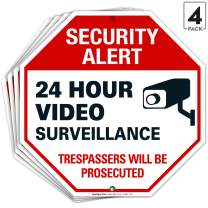 Video Surveillance Sign, 12x12 Octagon Shaped Rust Free Aluminum, Weather/Fade Resistant, Easy Mounting, Indoor/Outdoor Use, Made in USA by SIGO SIGNS (4)