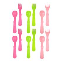 RE-PLAY MADE IN THE USA 12pk Fork and Spoon Utensil Set for Easy Baby, Toddler, and Child Feeding in Bright Pink, Lime Green and Blush | Made from Eco Friendly Heavyweight RECYCLED Milk Jugs | (Tulip)