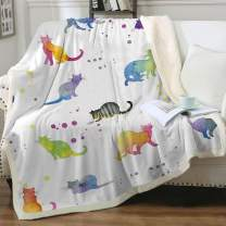 """Sleepwish Cat Fleece Throw Blanket Girls Kids Cute Animals Pet Pattern Sherpa Blanket for Bed Couch Chair Super Soft Warm and Comfy Cat Lover Gifts,Watercolor Cats Baby(30""""x40"""")"""
