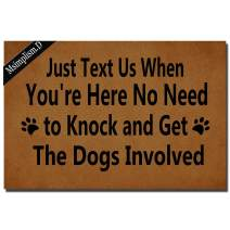 Funny Doormat for Indoor Outdoor -Just Text Us When You're Here No Need to Knock and Get The Dogs Involved Entrance Floor Mat Non Slip Mats Bathroom Kitchen Decor Area Rug 23.6 In(L) by 15.7 In(W)