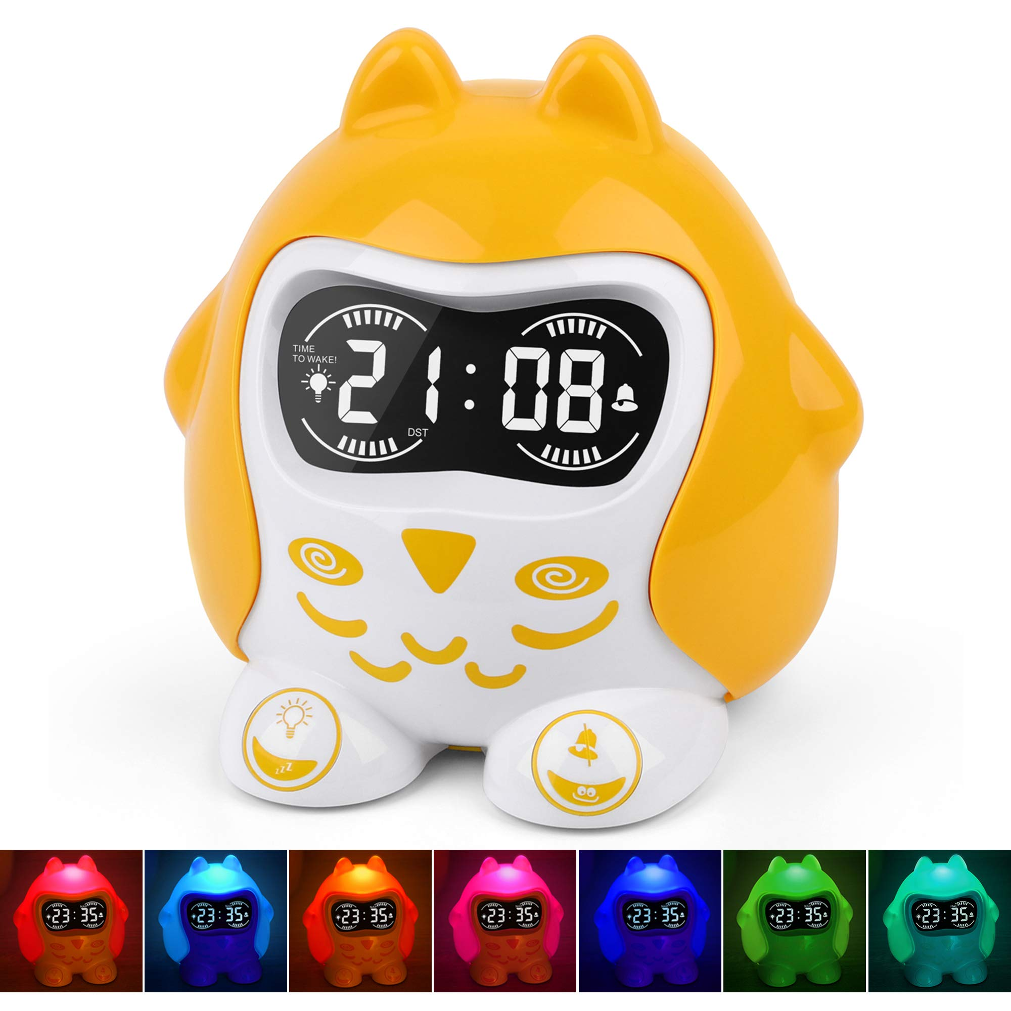 Kids Alarm Clock, White Noise Sound Machine with 9 Sounds, Sleep Trainer & Time to Wake Alarm Clock, 7-Color Night Light, Dimmer, Nap Timer, Battery/Outlet Operated, Fun Faces, 12/24 H DST, Snooze