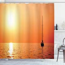 """Ambesonne Sailboat Shower Curtain, Lonely Yacht at Sunset Sailing Competition Race Teamwork Marine Vessel Winner, Cloth Fabric Bathroom Decor Set with Hooks, 84"""" Long Extra, Orange Yellow"""