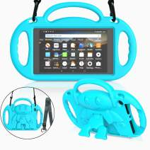 """MENZO Kids Case for All-New Fire HD 8 2018/2017 - Shockproof Convertible Hand le Light Weight Protective Stand Cover Kids Case for Fire HD 8"""" (2017 and 2018 Releases) Tablet, Turquoise"""