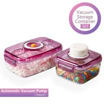 Jueapu Vacuum Food Storage Containers with Lids and Automatic Pump, BPA Free Storage Containers Great for Keeping Produce or Fruit Freshness, Royal Purple & Stackable (2 Containers, 1 Pump)