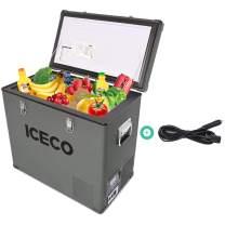 ICECO VL60 63 Quart Portable Freezer Car Refrigerator with SECOP Compressor Single Zone Cooler | AC 110V/ DC 12V | 0℉ to 50℉ | True Freezer for Car, Home, Camping, RV | with EC Cord