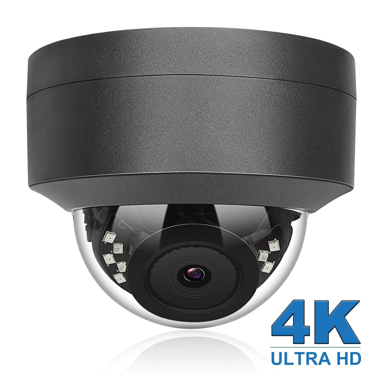 (Hikvision Compatible) Anpviz 4K 8MP POE IP Security Dome Camera Indoor Outdoor, Wide Angle 2.8mm Lens, 98ft, IP66 Weatherproof Onvif Compliant, Grey