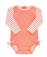 RuffleButts Baby/Toddler Girls Coral Polka One Piece Rash Guard - 6-12m