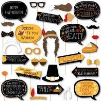 Big Dot of Happiness Give Thanks - Thanksgiving Party DIY Photo Booth Decor and Accessories - Picture Perfect Props Kit - 30 Pieces