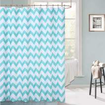 """Haperlare Shower Curtain, Chevron Pattern Fabric Shower Curtain for Bathroom, Waterproof Striped Shower Curtain with Rustproof Grommets, 72"""" x 72"""", Teal and White"""