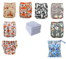 Ohbabyka Reusable Pocket Cloth Diapers Washable Adjustable One Size for Baby Boys/Girls + 3/4 Inserts (one Size, Astyle01)