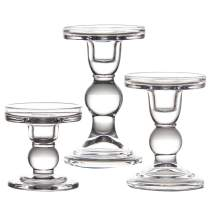 "YiSeyruo Mercury Glass Candle Holder: Clear Glass Votive Elegant Candle Holders Crystal Candlesticks for 2"" 2.5"" 2.75"" Pillar Candle 3/4"" Taper Candle 