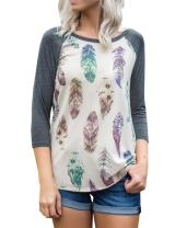 Womens Cute Feather Print 3/4 Sleeve Tops Raglan Baseball Tee Shirts