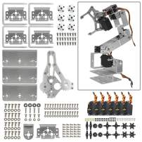 diymore Silver ROT3U 6DOF Aluminium Robot Arm Mechanical Robotic Clamp Claw Kit with MG996R Servos 25T Metal Disc Horns and Screw for Arduino UNO MEGA2560(Unassembled)