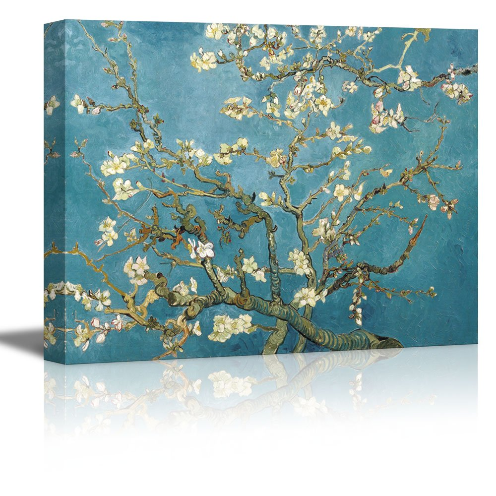 """wall26 Almond Blossom by Vincent Van Gogh - Oil Painting Reproduction on Canvas Prints Wall Art, Ready to Hang - 32"""" x 48"""""""