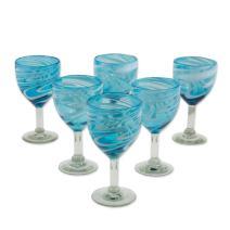 NOVICA Blue Hand Blown Glass Wine Glasses, 10 Oz, Whirling Aquamarine' (Set of 6)