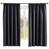 VEGA U Blackout Curtains Matte Series - Thermal Insulated Privacy Protection Rod Pocket Window Curtain for Bedroom, 42 inch Wide by 84 inch Length, Set of 2 Panels, Dark Grey