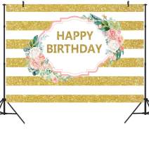 DULUDA 5X3FT Pink Floral Happy Birthday Backdrop Gold White Stripes Women 20th 30th 40th 50th Party Decoration Girls Sweet 16 Phtograghy Background Cake Table Banner Vinyl Photo Booth Prop BD48F