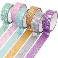 VEYLIN 6Rolls Sliver Foil Washi Tape, Shiny Flower Masking Tape for Scrapbook Gift Wrappings