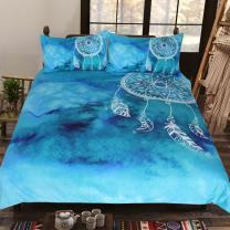 Sleepwish Teal Blue Watercolor Dreamcatcher Bedding Boho Bed Clothes 3 Piece Ethnic Duvet Cover Bohemian Hippie Bed Comforter Cover Set (Queen)