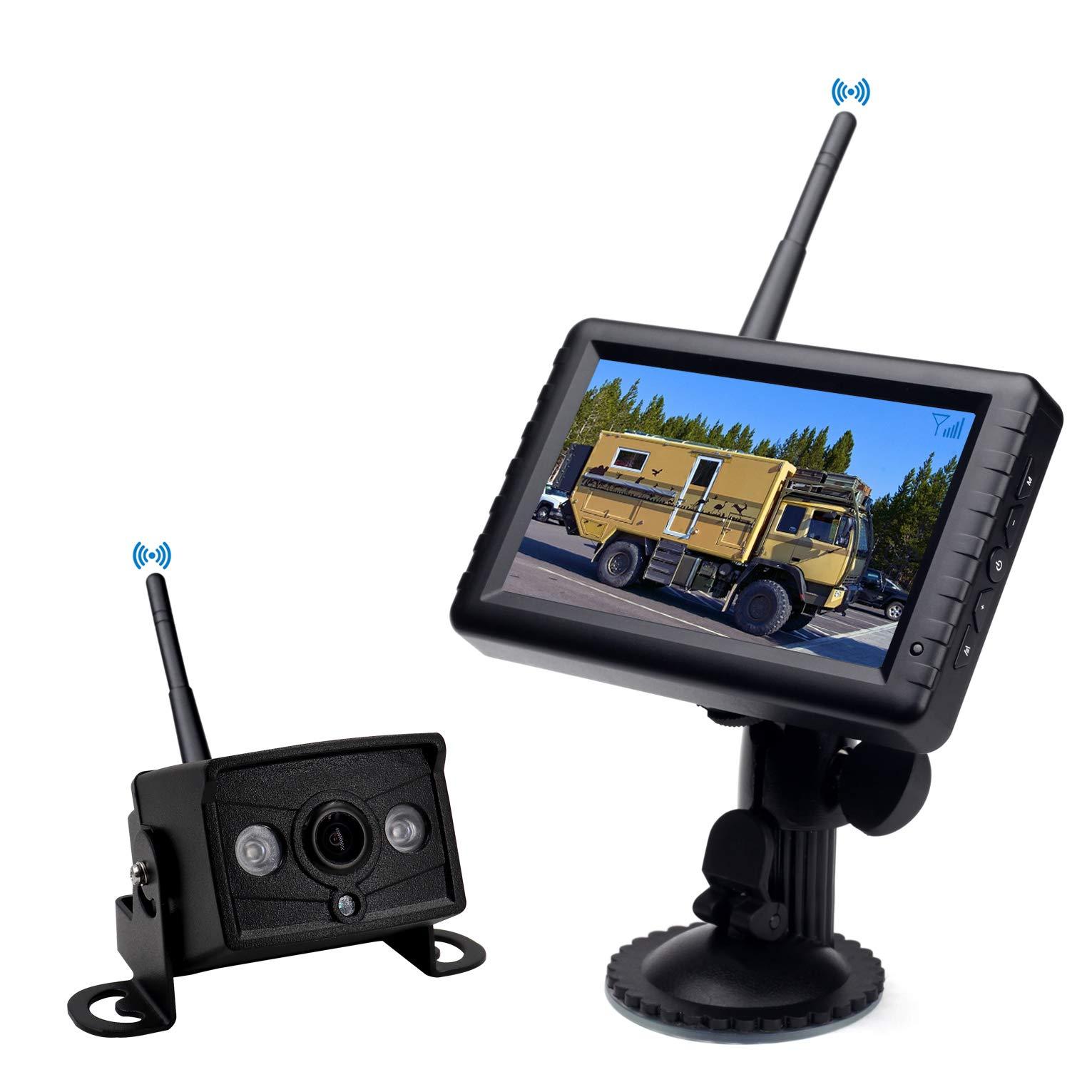 CAMONS HD Wireless Backup Camera Kit with Stable Digital Signal, 5'' Monitor & IP69K Waterproof IR Night Vision Front Rear View Camera for Truck, Van, Camping Car, SUV