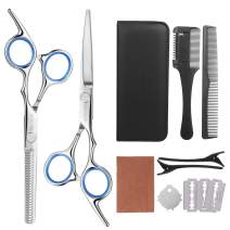 FRCOLOR Hair Cutting Scissors Hairdressing Thinning Shears Kit with Barber Cape Hair Thinning Cutting Combs and Black Case,Professional Upgraded Haircut Setd 3)