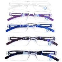 Blue Light Blocking Computer Reading Glasses - AQWANO 5 Pack Clear Frame Rimless Readers Anti Glare Filter Lightweight Eyeglasses for Women Men (5 Pack Mix Color, 3.5)