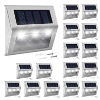 Solar Step Lights with Larger Battery Capacity JACKYLED 16-Pack Stainless Steel Bright 3 LED Solar Powered Deck Lights Weatherproof Outdoor Lighting for Steps Stairs Decks Fences Paths Patio Pathway