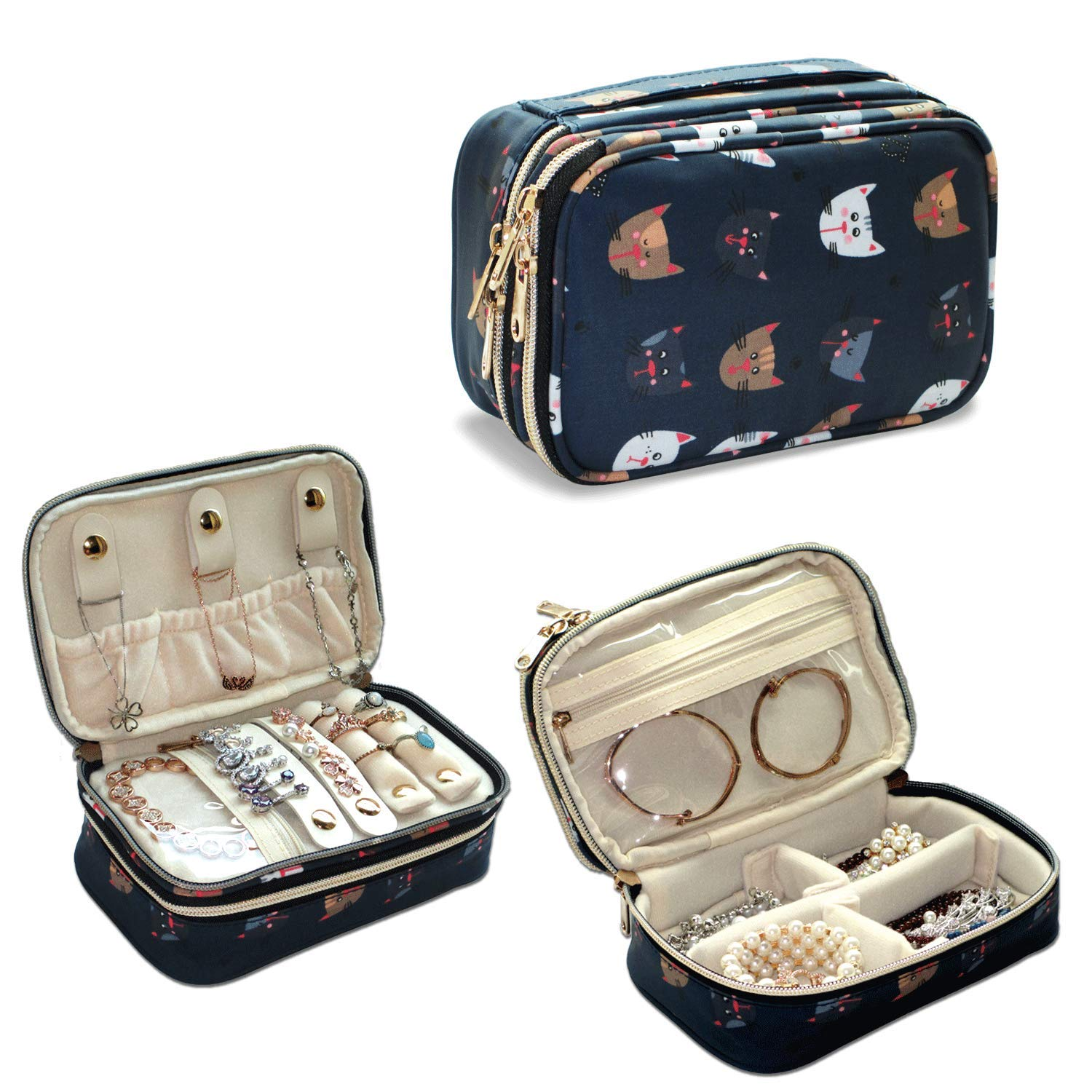 Q-smile Travel Jewelry Case Jewelry Organizer Bag Double Layer Storage Carrying Pouch Holder for Necklaces, Earrings, Bracelets, Rings, Watch and More,Compact and Portable (Dark Blue-Cat, Small)