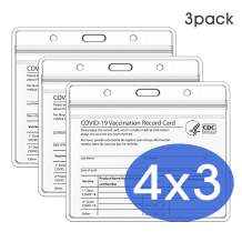 Upgraded CDC Vaccination Card Protector 4 x 3 in Immunization Record Vaccine Horizontal ID Card Name Tag Badge Cards Holder Clear Vinyl Plastic Sleeve with Waterproof Resealable Zip (3-Pack)