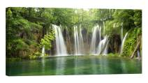 LightFairy Wall Art for Living Room - Glow in The Dark Canvas Painting - Stretched and Framed Giclee Print - Big Waterfall in The Forest - Wall Decorations for Bedroom - 46 x 24 inch