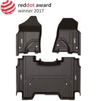 3W Floor Mats for Dodge Ram 2019 with Storage Under Rear Seat - Full Set All Weather Ram 1500 Crew Cab Carpet with Non-Toxic TPE 1st & 2nd Row for Bucket Seating, Black