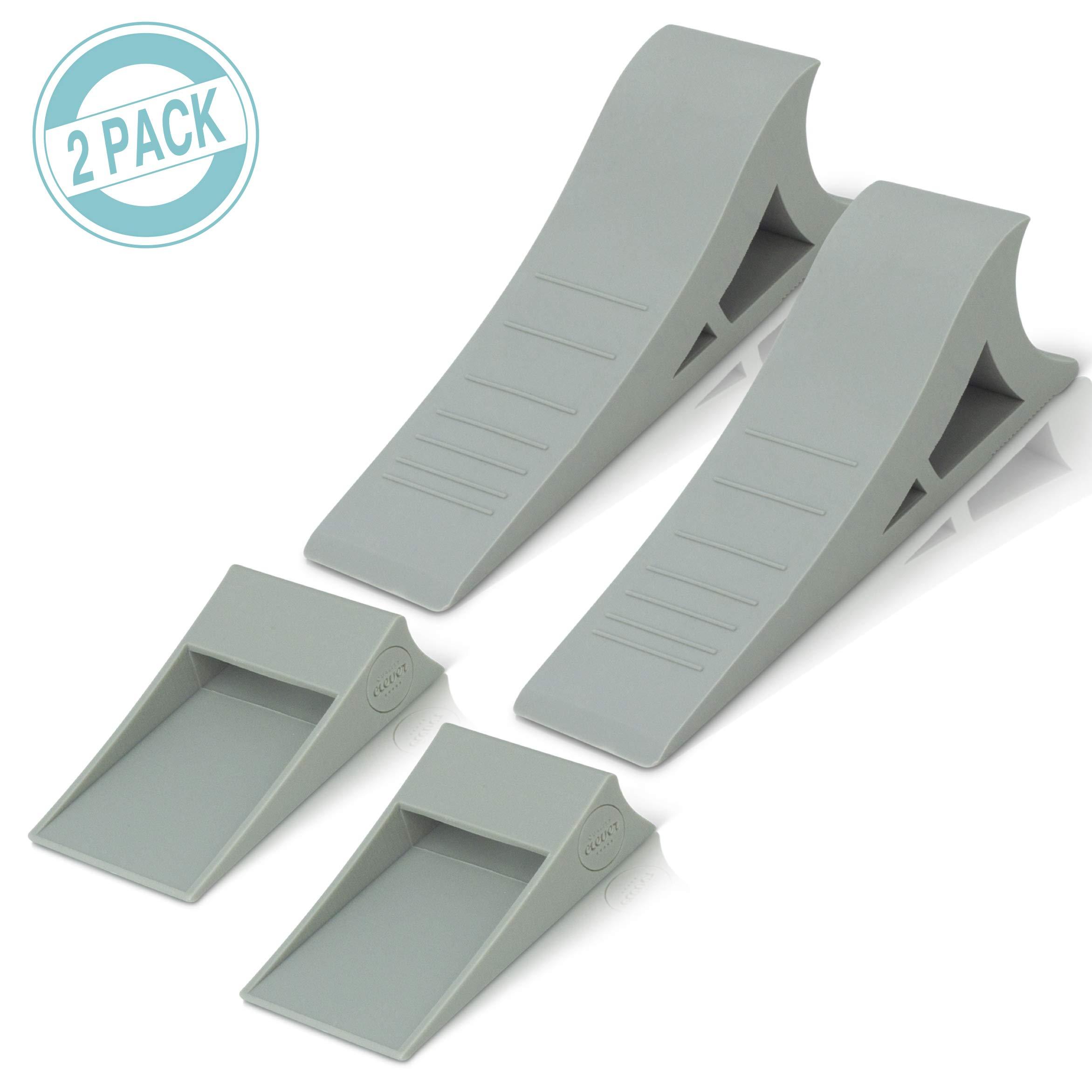 Heavy Duty Rubber Door Stopper – Zero Edge Door Wedge Stops All Doors, Gaps to 1.5 Inch on All Surfaces – Door Stopper Wall Mount Hangs Up When Not In Use for No-Bending Easy Access
