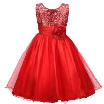 Acecharming Girls Dresses Sequin Flower Girls Party Dress Bridesmaid Ball Gown Wedding Tulle 3-10 Years Red