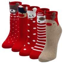 Unisex Kids Christmas Socks Boys Girls Toddler Baby Cartoon Holiday Socks with 3D Ears 5 Pairs