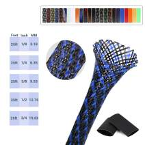 Braided Cable Sleeving 25ft BlackBlue Wire Loom 1/8 inch Protect Kids Touching, General Purpose for Office Wire Organizer