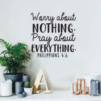 """Vinyl Wall Art Decal - Worry About Nothing Pray About Everything - 17"""" x 17"""" - Modern Inspirational Religious Bible Verse Quote for Home Bedroom Office Church Decoration Sticker (Black)"""