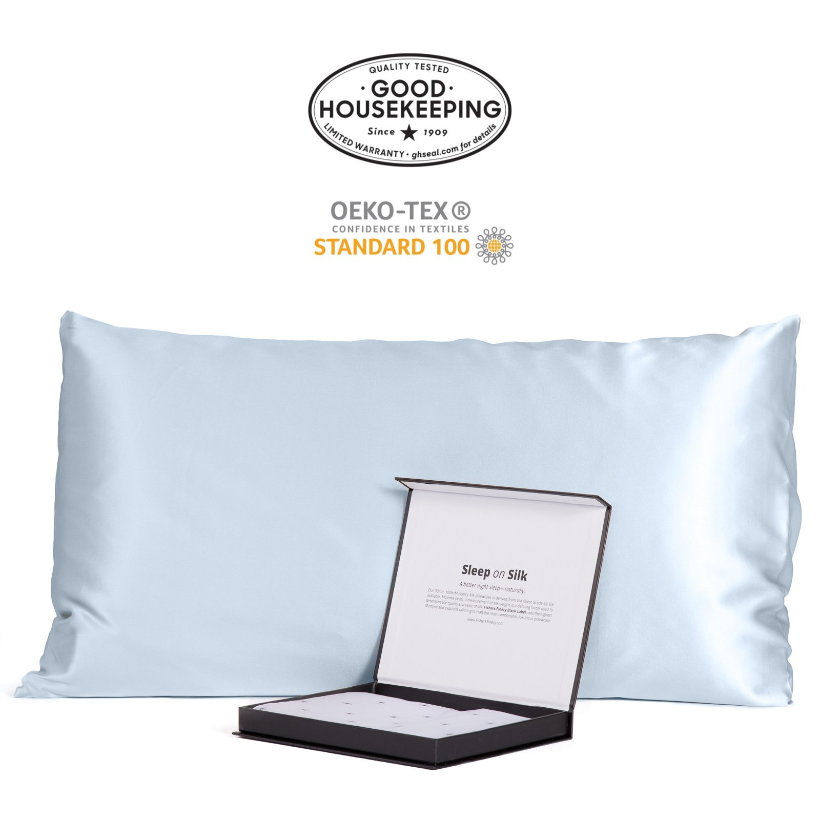 Fishers Finery 30mm 100% Pure Mulberry Silk Pillowcase Good Housekeeping Quality Tested (Lt Blue, King)