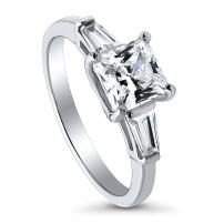 BERRICLE Rhodium Plated Sterling Silver Princess Cut Cubic Zirconia CZ 3-Stone Anniversary Promise Wedding Engagement Ring 1.7 CTW