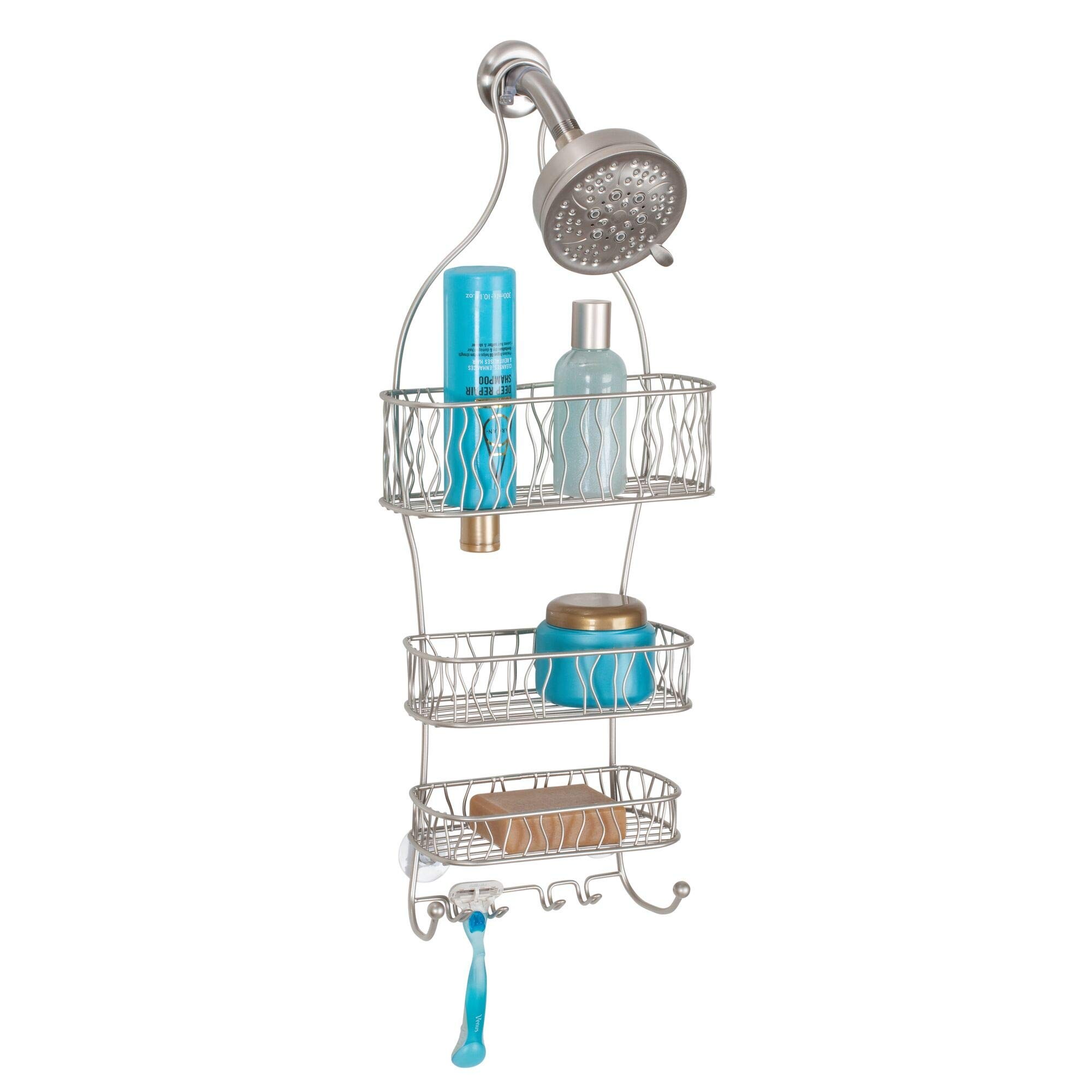 InterDesign Squiggle Hanging Shower Caddy – Bathroom Storage Shelves for Shampoo, Conditioner and Soap, Satin