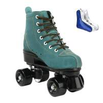 Roller Skates for Women Men High-top Roller Skates Four Wheels Roller Skates Shiny Roller Skates for Girls Boys with Shoes Bag