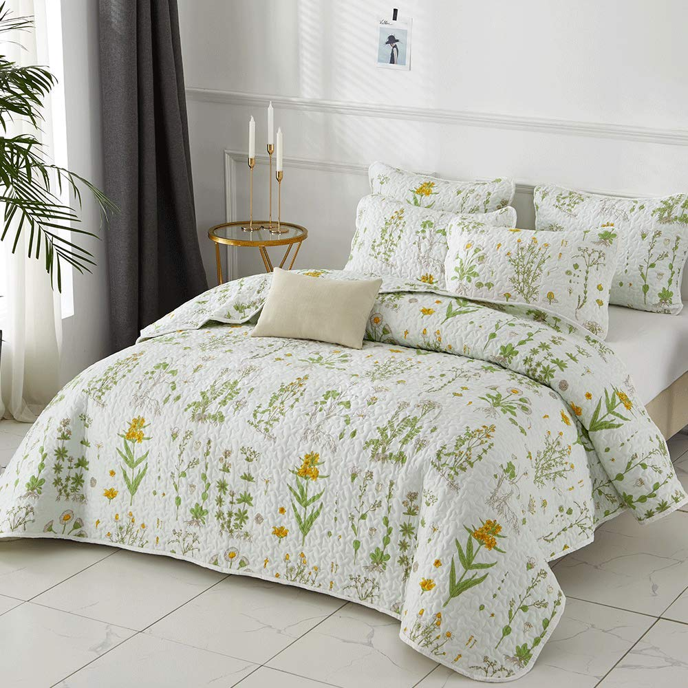 Joyreap 2 Pieces Reversible Quilt Set, Smooth Soft Microfiber Quilt, Yellow Flowers Green Leaves on White Pattern, Bedspread Bed Cover for All Season, 1 Quilt n 1 Pillow Sham (Botanical, Twin)