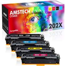 Amstech Compatible Toner Cartridge Replacement for HP 202A 202X CF500X CF501X CF502X CF503X for HP Laserjet Pro MFP M281fdw M281cdw M254dw M254dn M280nw Printer (Black Cyan Yellow Magenta, 4-Pack)