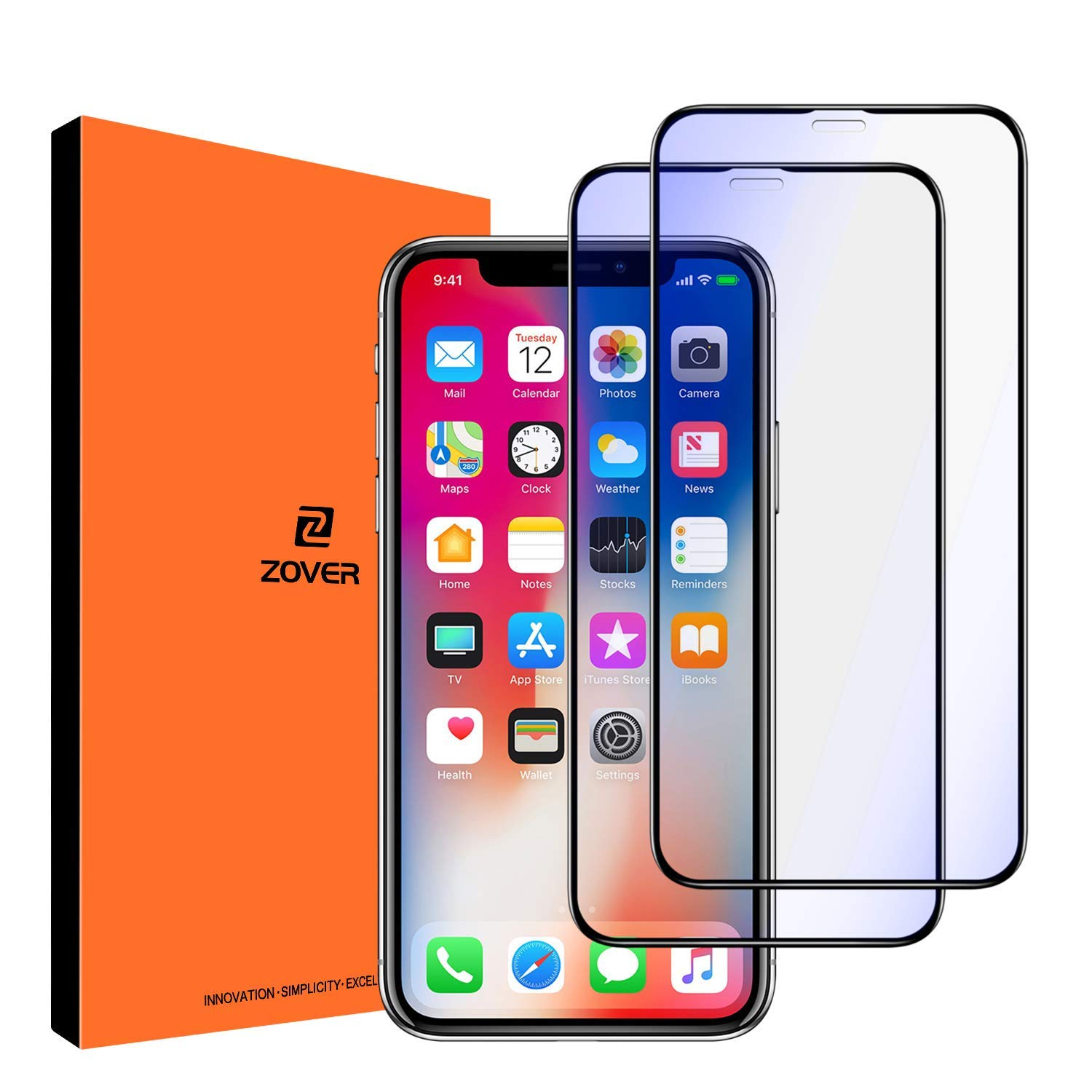 Anti Blue Light Screen Protector Compatible with iPhone 11 Pro/X/XS, Eye Protect Blocks Excessive Harmful Blue Light, Anti-Blue Light Protective Film for 5.8 inch, 2 Pack-Black