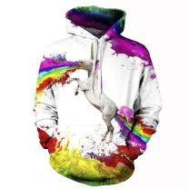 Memoryee Unisex 3D Printed Pullover Hoodies Sweatshirts Funny Colorful Galaxy Pattern Front Pocket