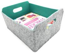 Welaxy Storage Baskets Felt Foldable Storage Cube bin Shelf Bins Organizer Felt Box for for Kids Toys Magazine Books Clothes for Office Bedroom Closet Babies Nursery Laundry organizing (Lime Green)